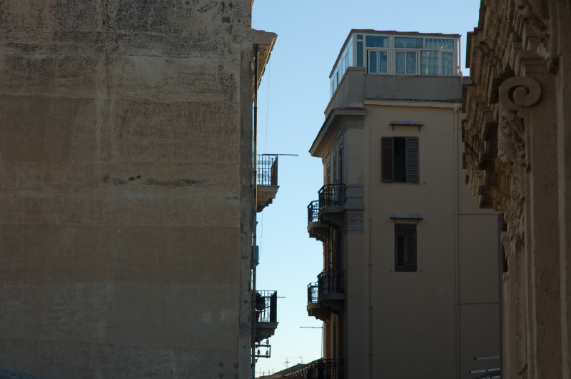 One view from our hotel on Via Divisi - the two buildings seem to be engaged in conversation